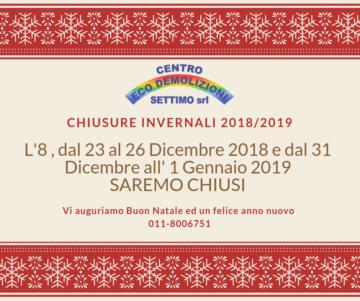 chiusura Natale 2018