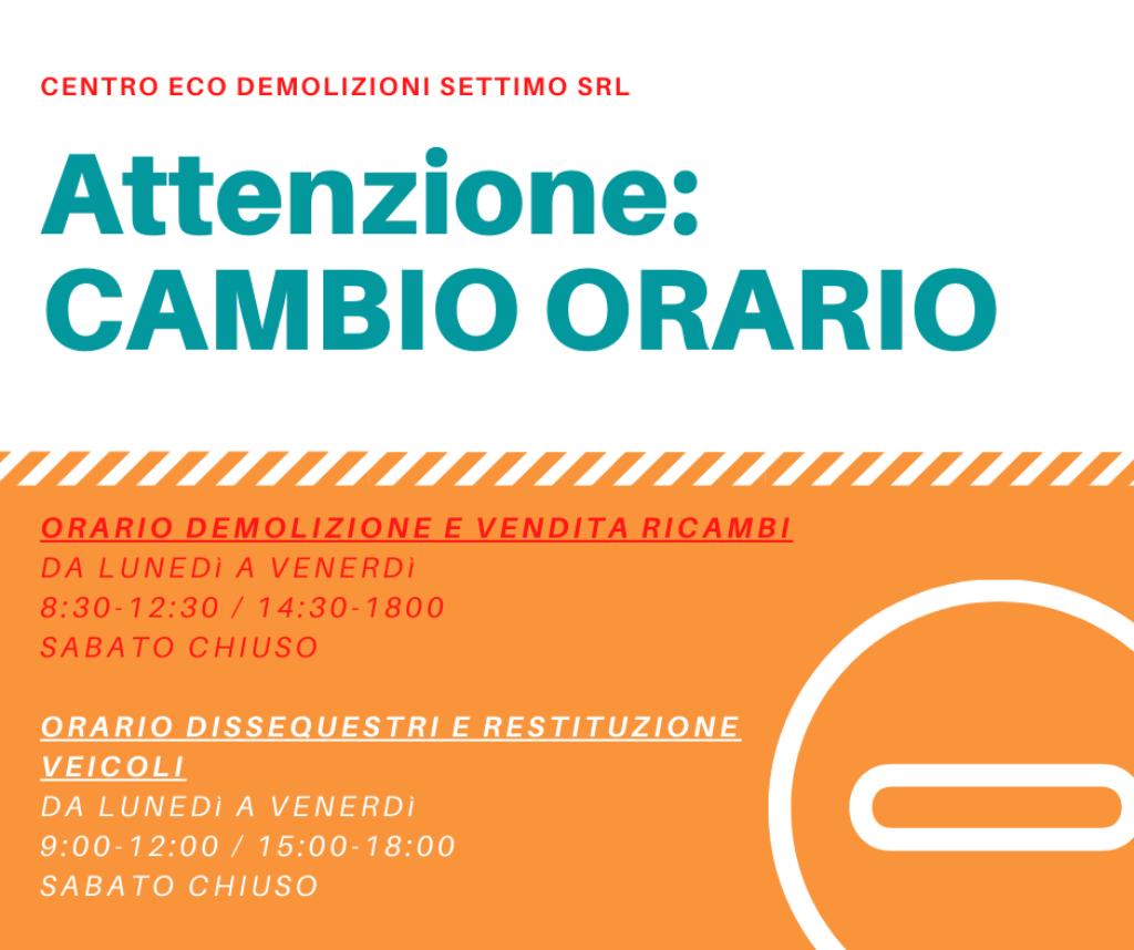 Attenzione_ CAMBIO ORARIO